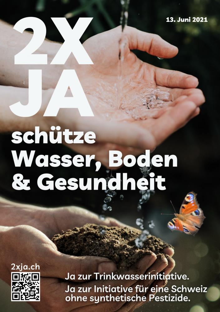 2xJa-Kampagne zu den Initiativen für sauberes Trinkwasser und für eine  Schweiz ohne synthetische Pestizide